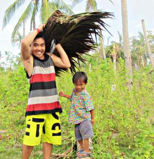 Israel Garcia helps with reconstruction on Bantayan Island