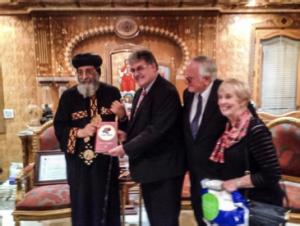 Pope Tawadros II, David Hamilton, and Loren and Darlene Cunningham