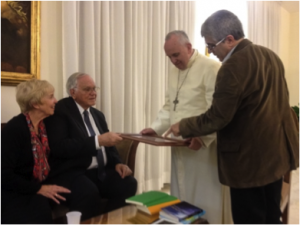 Darlene and Loren Cunningham with Pope Francis and Alejandro Rodriguez