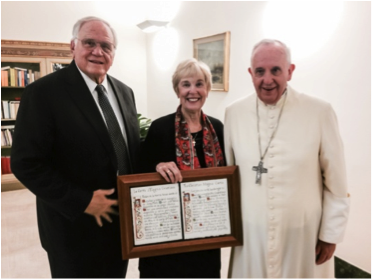 Loren and Darlene Cunningham with Pope Francis
