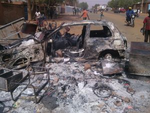 Niger Car Burned
