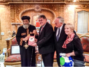 Pope Tawadros II, head of the Coptic Church, with YWAM leaders
